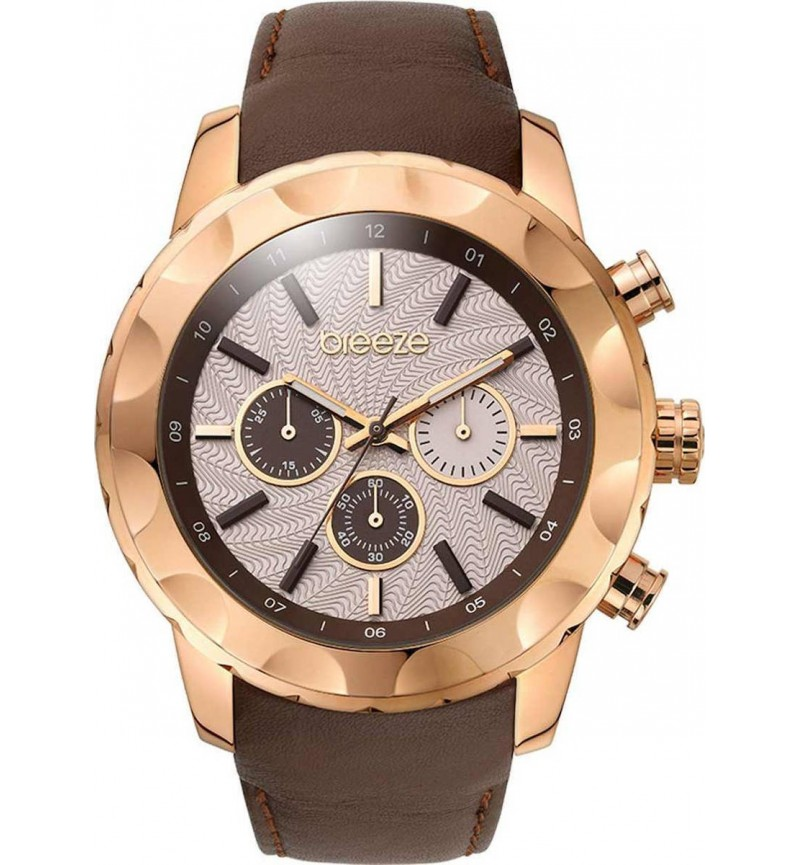 Breeze Midtown Cocktail Brown Leather Strap Chrono 110261.3