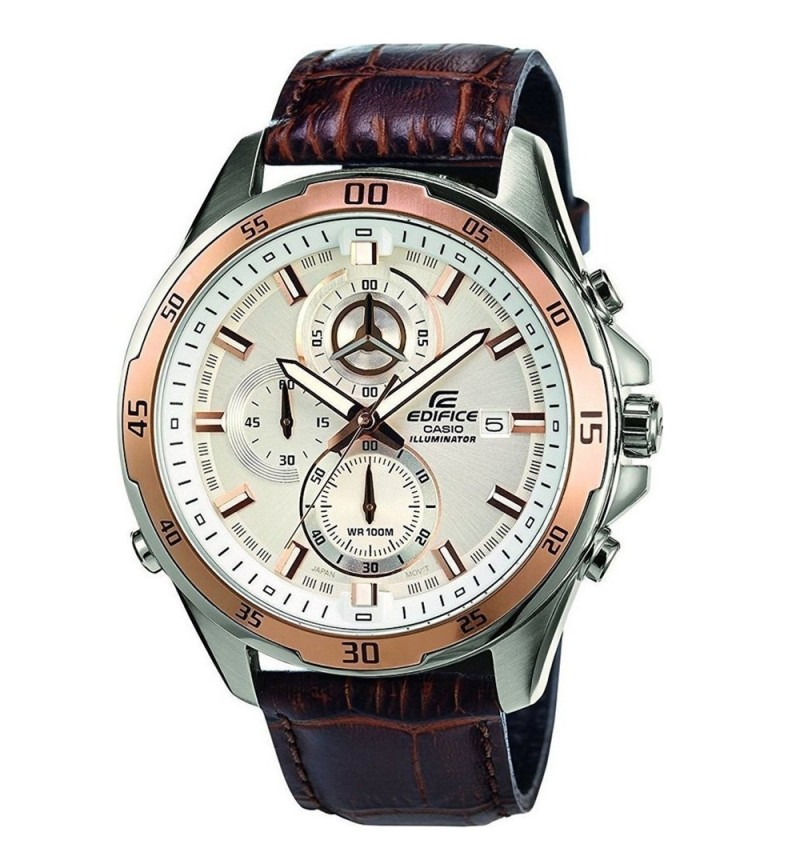 CASIO Edifice Chronograph Stainless Steel Leather Strap EFR-547L-7AVUEF