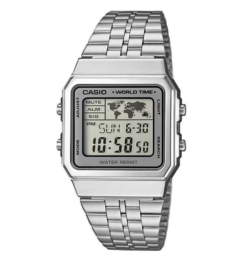 CASIO Collection Silver Stainless Steel Bracelet A500WEA-7EF