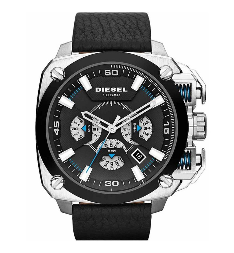 DIESEL Bamf Black Leather Chronograph DZ7345