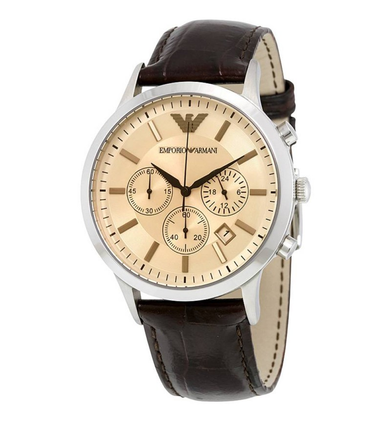 Emporio Armani Chrono Brown Dial and Leather Strap - AR2433