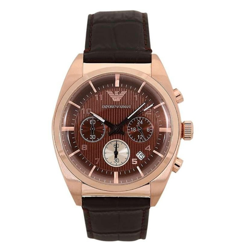Emporio Armani Chrono Rosegold Case Brown Dial and Leather AR0371
