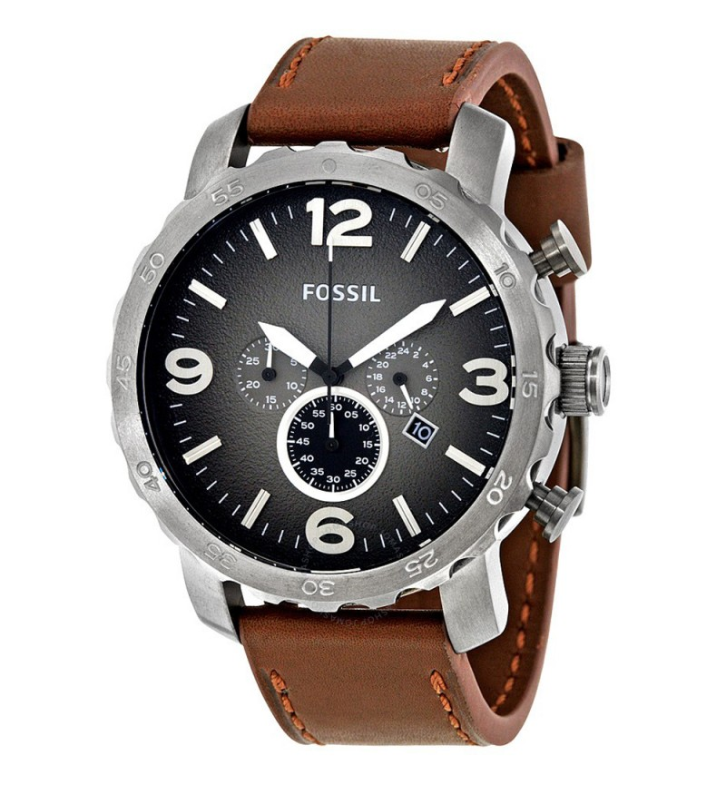Fossil Nate Brown Leather Strap Chronograph JR1424