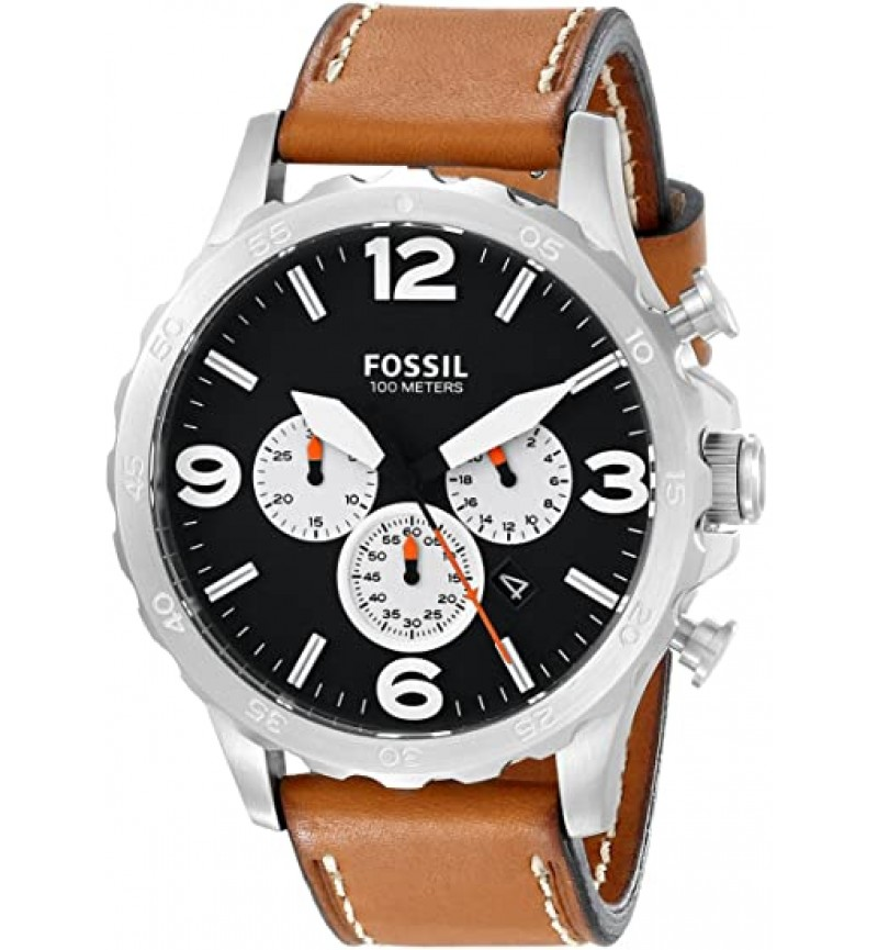 Fossil Nate Brown Leather Strap Chronograph JR1486