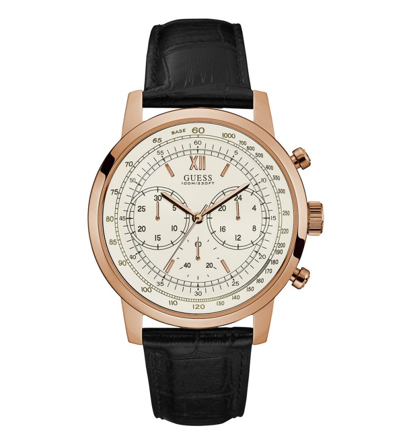 GUESS Chronograph Black Leather Strap