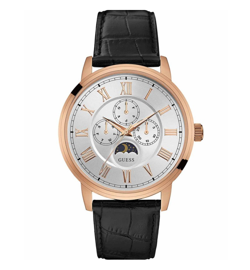 GUESS Chrono Black Leather Strap
