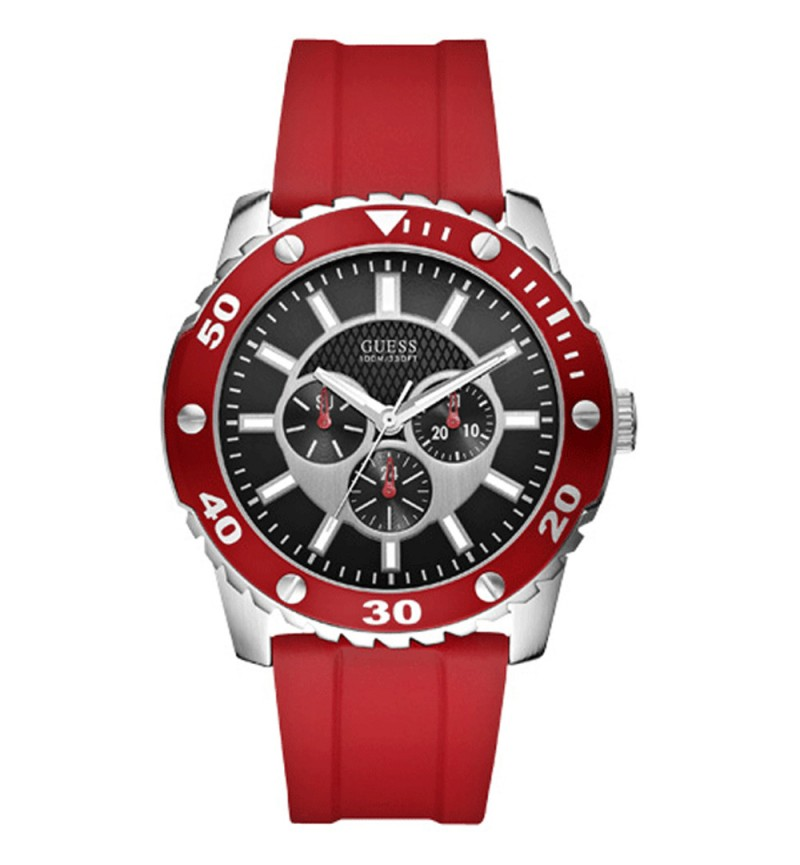 Guess W10616G4 Men's Watch Analogue Quartz Black Silicone Strap Red Dial