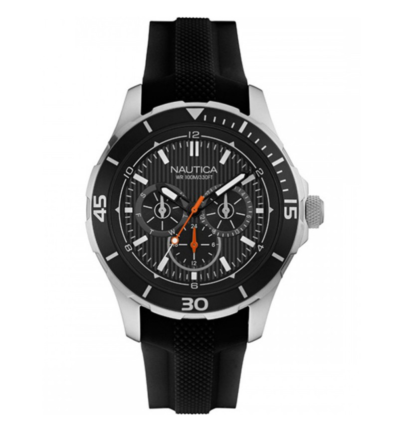 NAUTICA NST 10 Men's Multifunction Black Rubber Strap