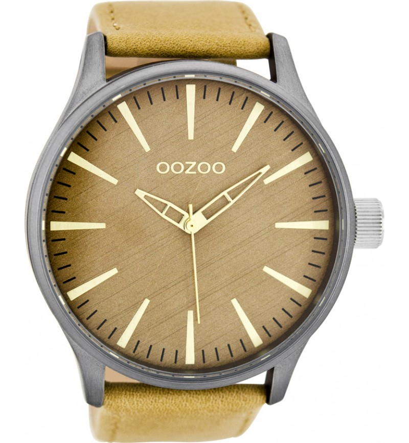 OOZOO XL ΤIMEPIECES BROWN LEATHER STRAP C7860