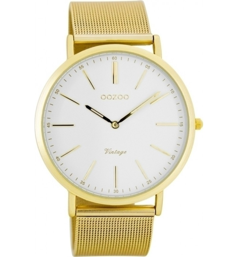 OOZOO Τimepieces Vintage Gold Ultra Slim Metal Strap C7389