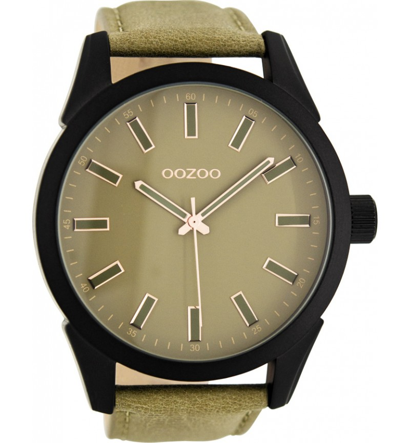 OOZOO TIMEPIECES 50mm Unisex BrownGreen Leather Strap C7811
