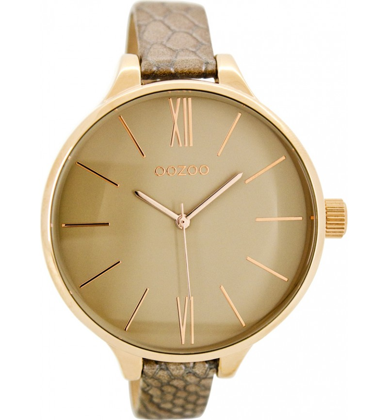 OOZOO Timepieces Three Hands Rose Gold Metal Leather Strap C7973