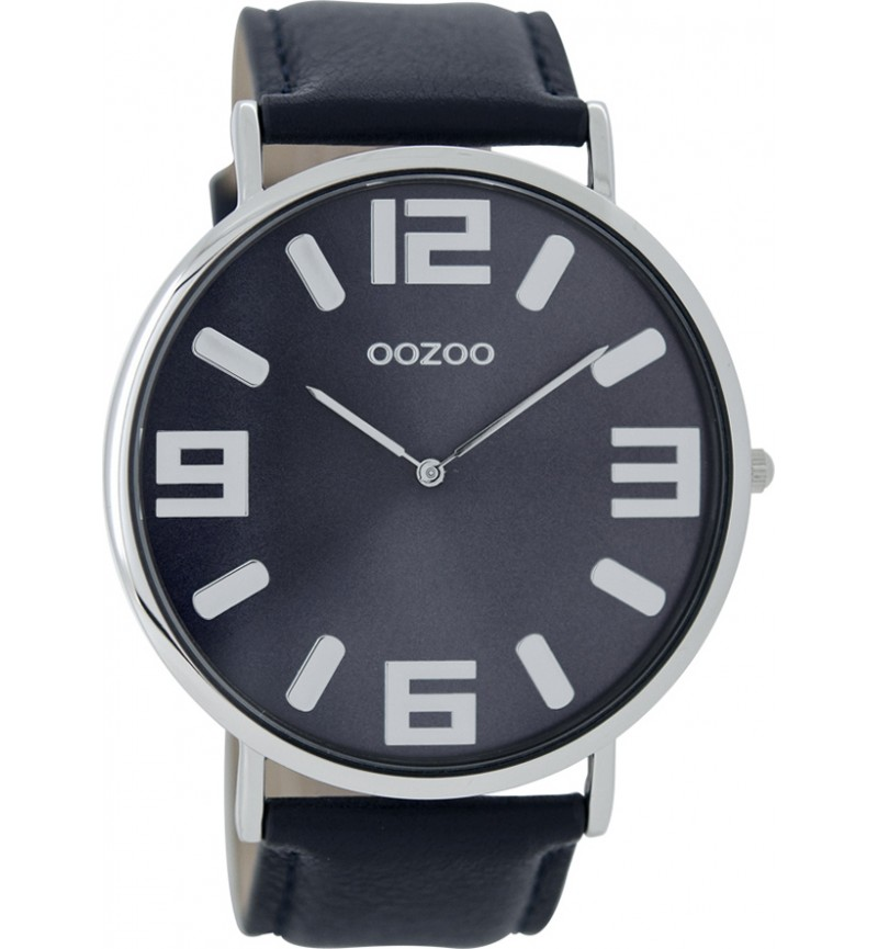OOZOO Timepieces XXL Vintage , Silver case with Blue Leather Strap - C8853