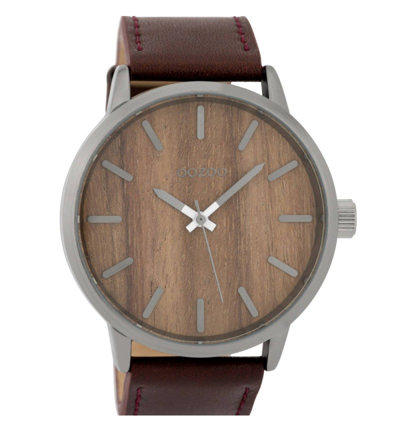 OOZOO Timepieces Oak Wood Dial Brown Leather Strap