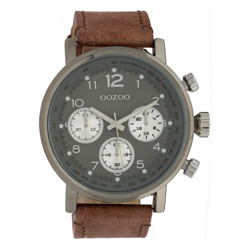 OOZOO Chrono Brown Leather Strap C9262