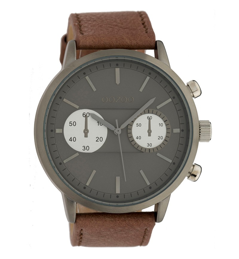 OOZOO Timepieces XXL Brown Leather Strap C9272