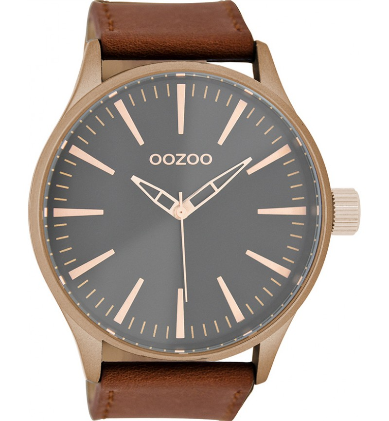 OOZOO Unisex Brown Leather Strap C8769