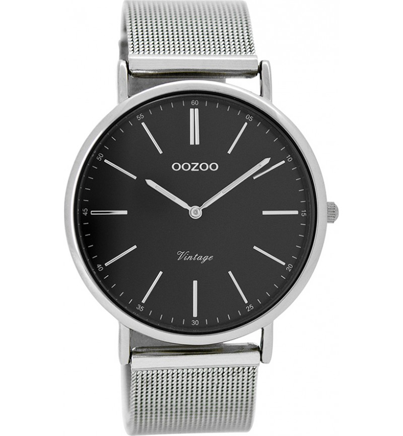 OOZOO Timepieces Vintage Silver case with Metal Bracelet- C8815