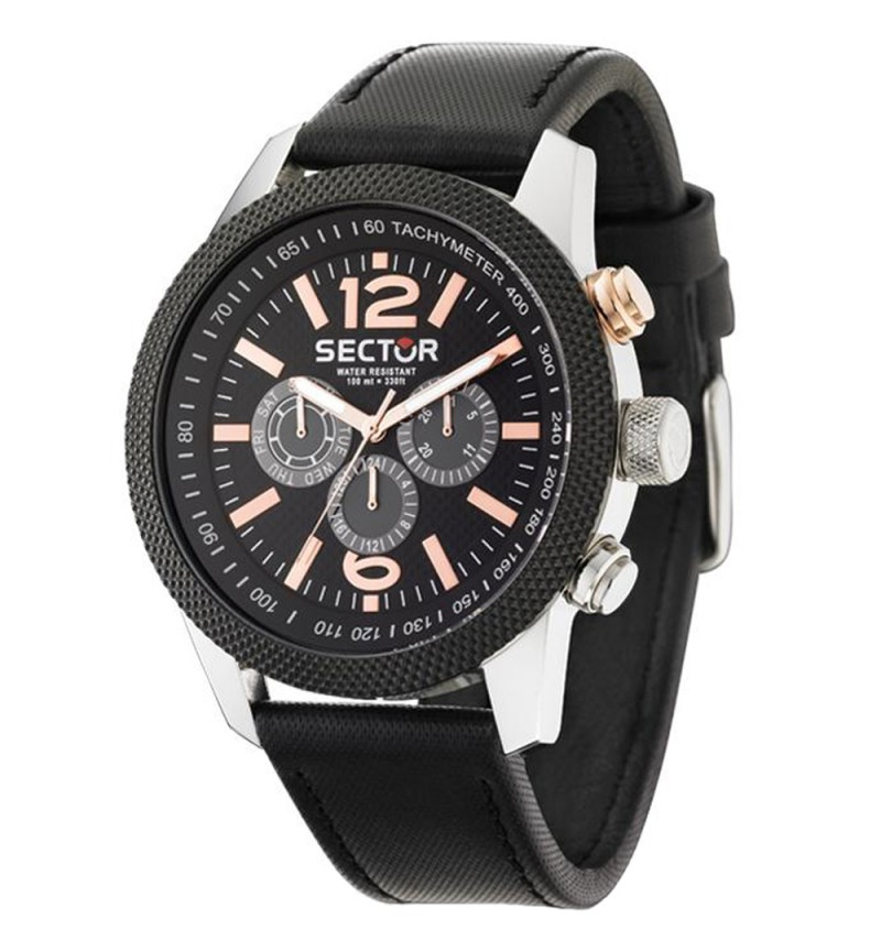 Sector Overland Multifunction Black Leather Strap R3251102006