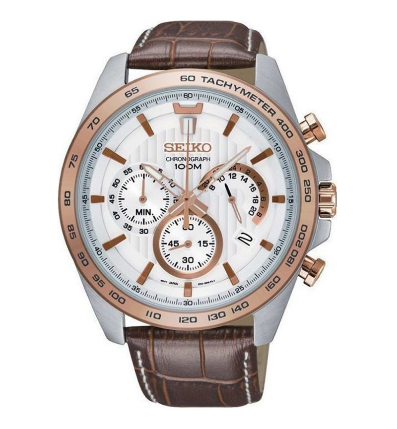 Seiko Chronograph Brown Leather SSB306P1
