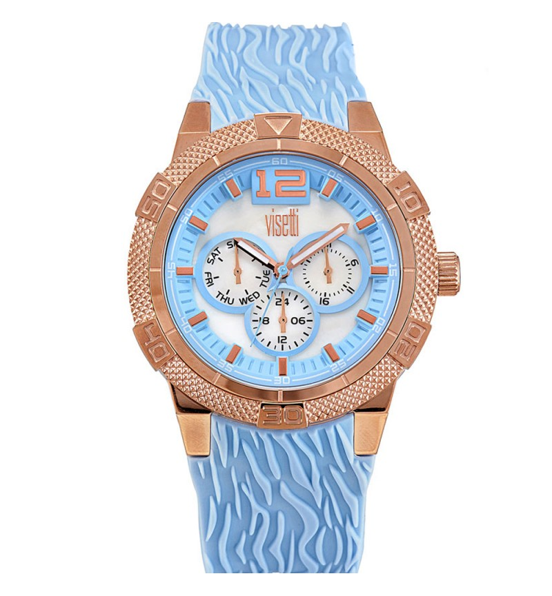 VISETTI Aquaterra Ladies Multi Rose Gold Light Blue Silicone Str PE-756RT