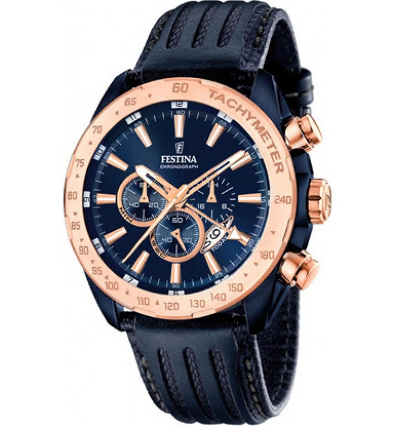 FESTINA Men's Chrono , Blue case with Blue Leather Strap - F16897/1