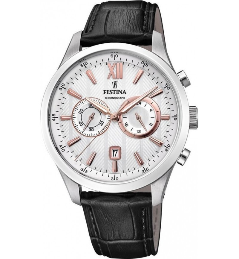 FESTINA Classic Chronograph 44mm Stainless Steel Leather Strap F16996/1
