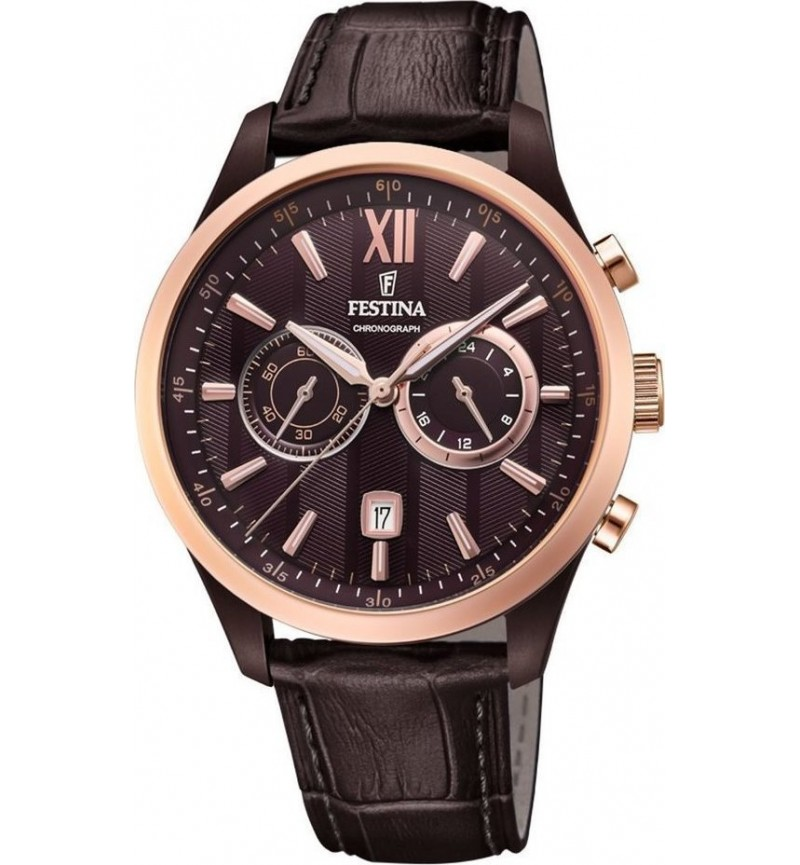 FESTINA Chrono Men's, Brown case with Brown Leather Strap  F16999/1