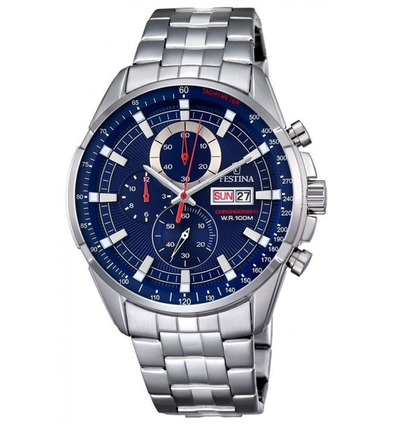FESTINA Men's Chrono  , Silver case with Stainless Steel Bracelet- F6844/3