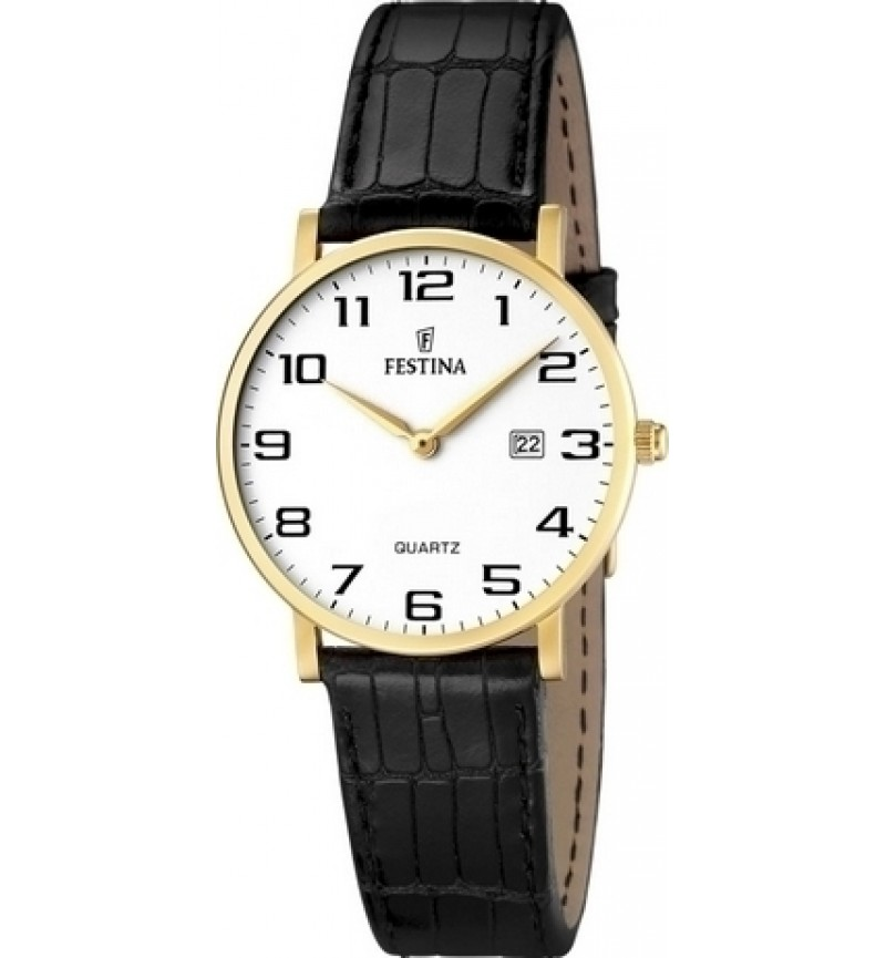 FESTINA Gold Black Leather Strap F16479/1