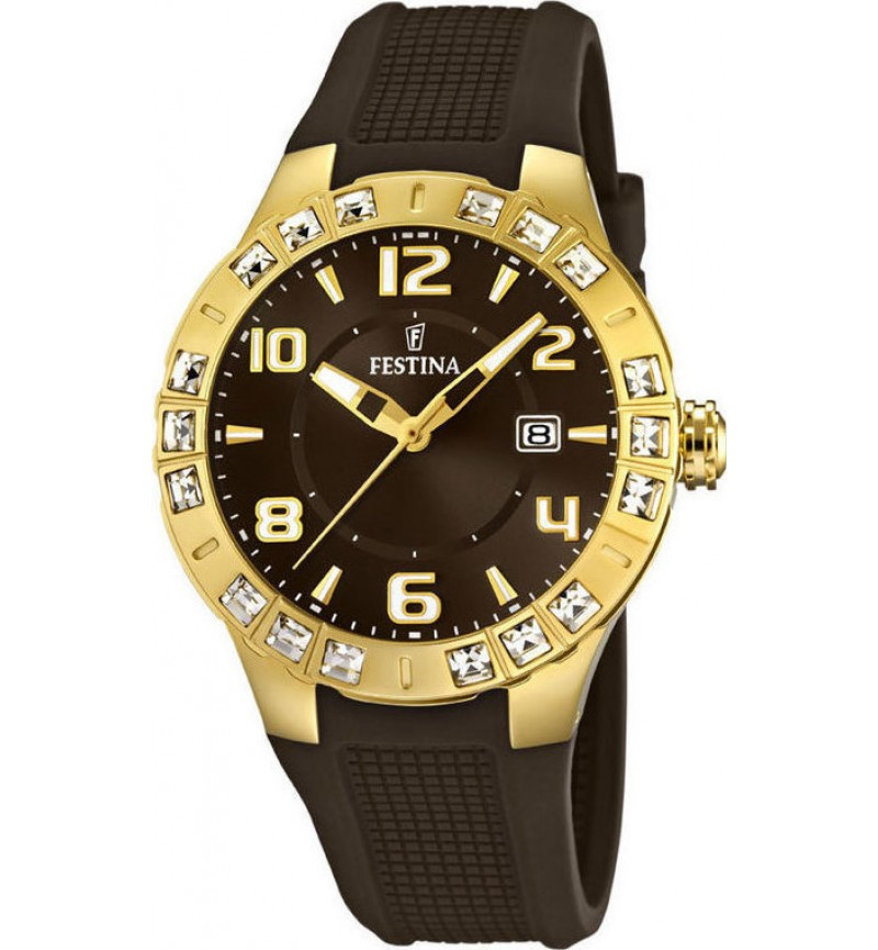 FESTINA Crystals Gold Brown Rubber Strap F16582/3
