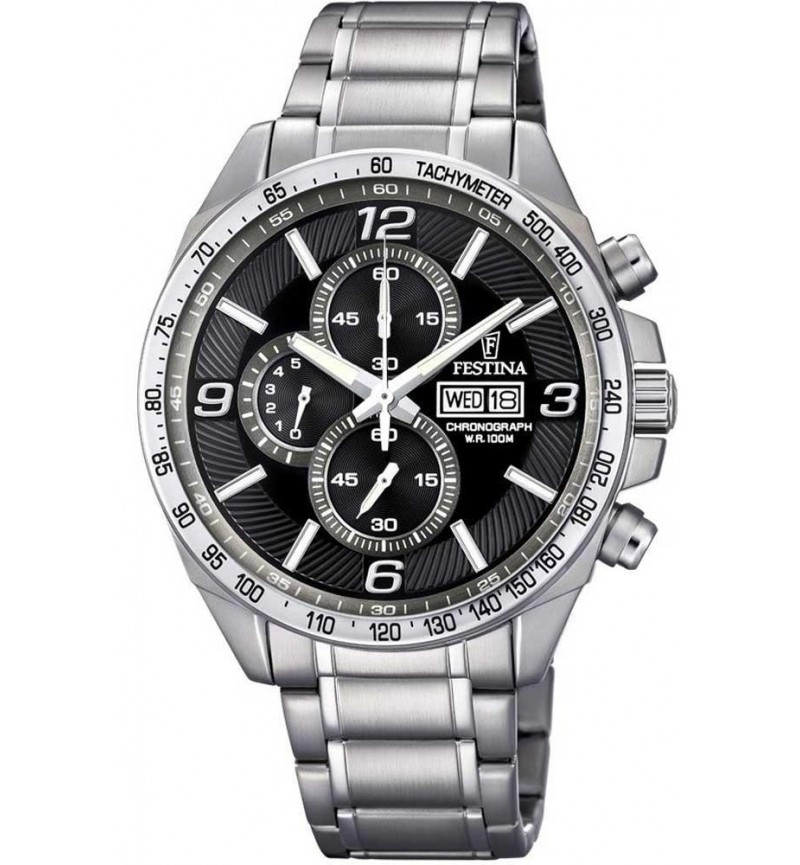 FESTINA Men's Chronograph, Silver case with Stainless Steel Bracelet - F6861/4