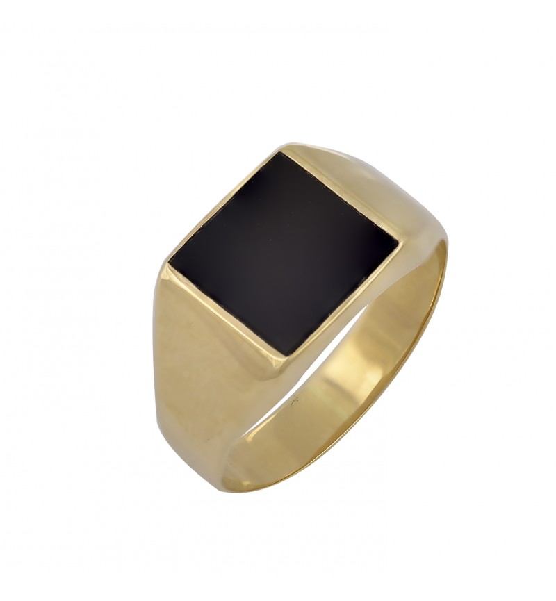 Ring yellow gold black square