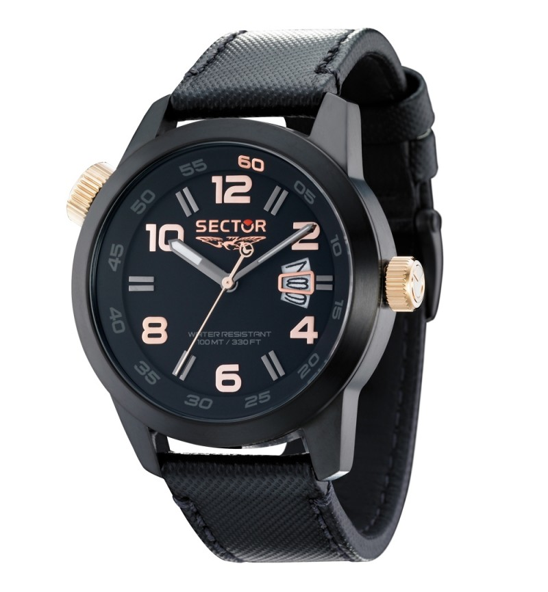 Sector  Oversize Black Leather Strap R3251202025