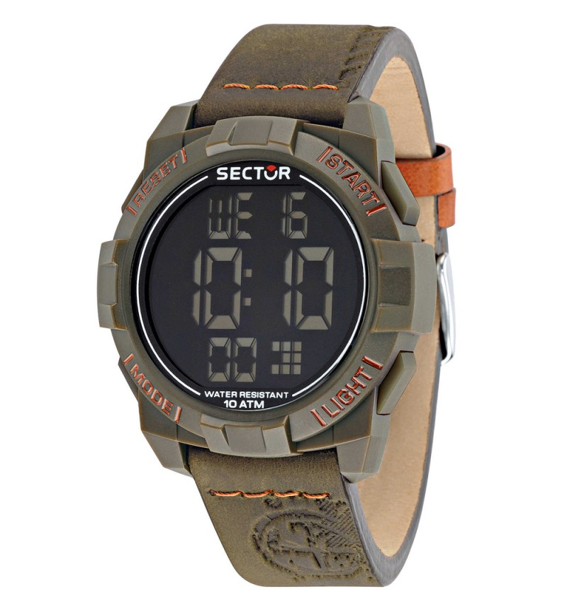 SECTOR EXPANDER 1945 DIGITAL BROWN LEATHER STRAP R3251172051