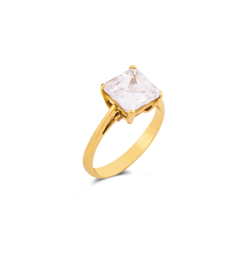 Solitaire ring with square zircon stone
