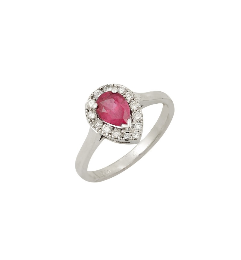 SOLITAIRE RING RUBY PEAR CUT