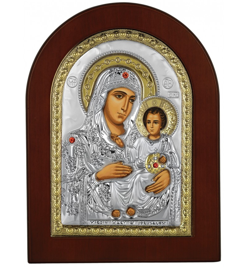 SILVER ICON VIRGIN MARY OF JERUSALEM MA-E1102-VX