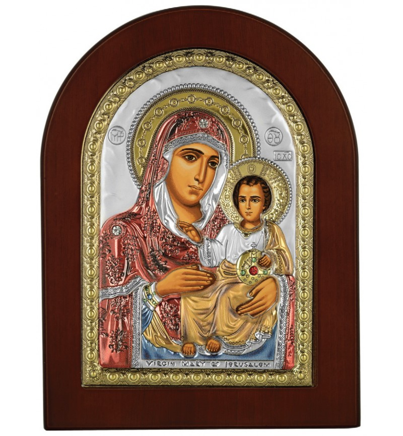 SILVER ICON VIRGIN MARY OF JERUSALEM MA-E1102-VX-C