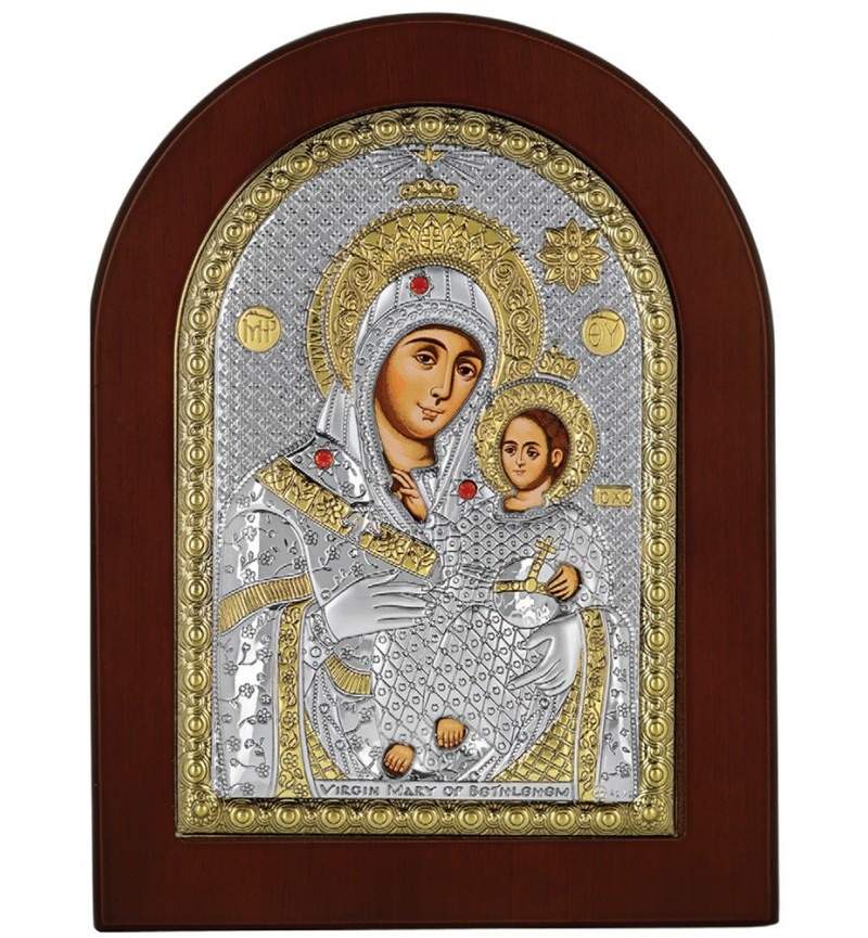 SILVER ICON VIRGIN MARY OF BETHLEHEM MA-E1109-VX