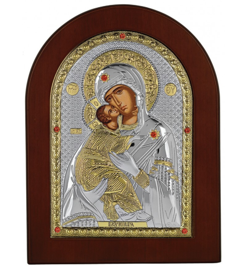 SILVER ICON VIRGIN MARY OF VLADIMIR MA-E1110-AX