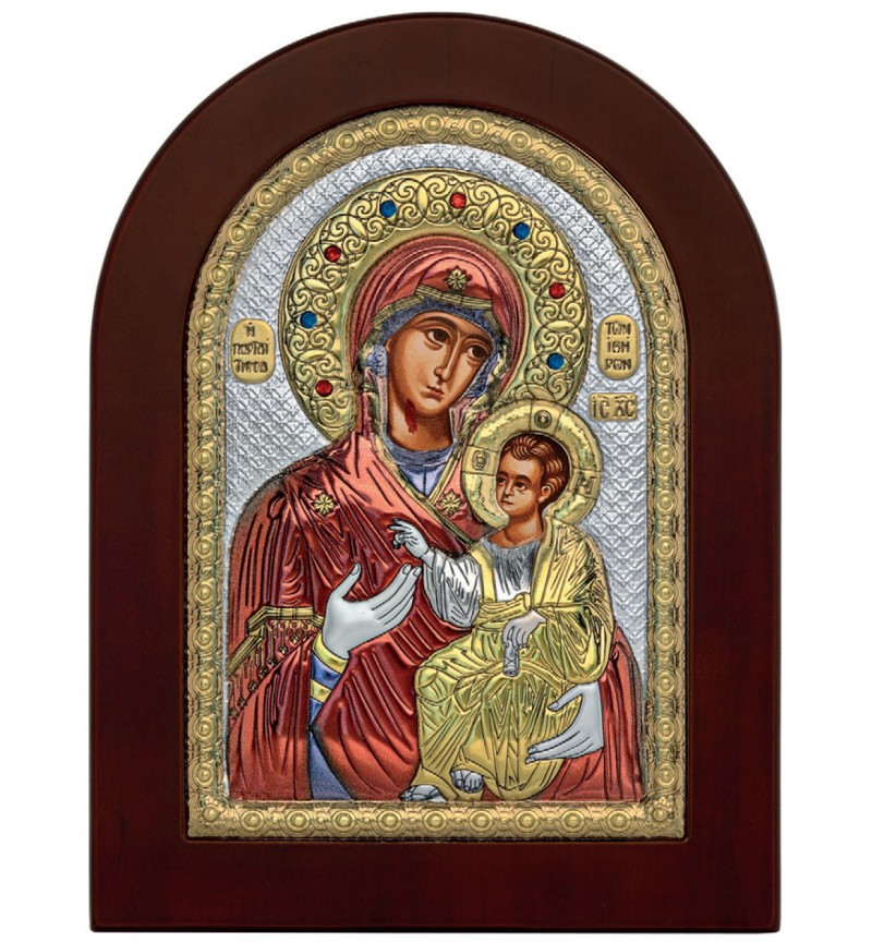 SILVER ICON VIRGIN MARY PORTAITISSA MA-E1134-BX-C