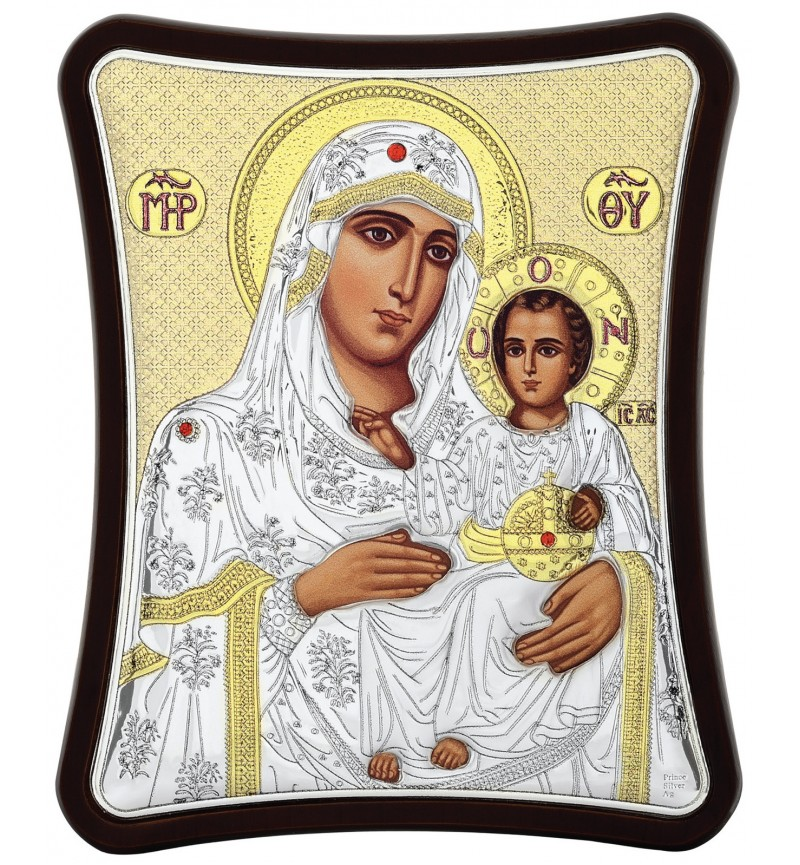 SILVER ICON VIRGIN MARY OF JERUSALEM MA-E1402-1XG