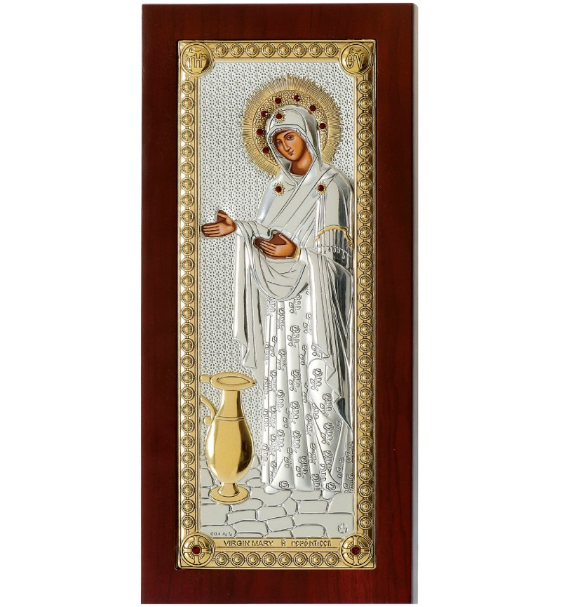 SILVER ICON VIRGIN MARY GERONTISSA  MB-E1202-VX