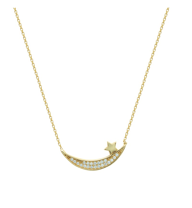 Necklace gold moon and star