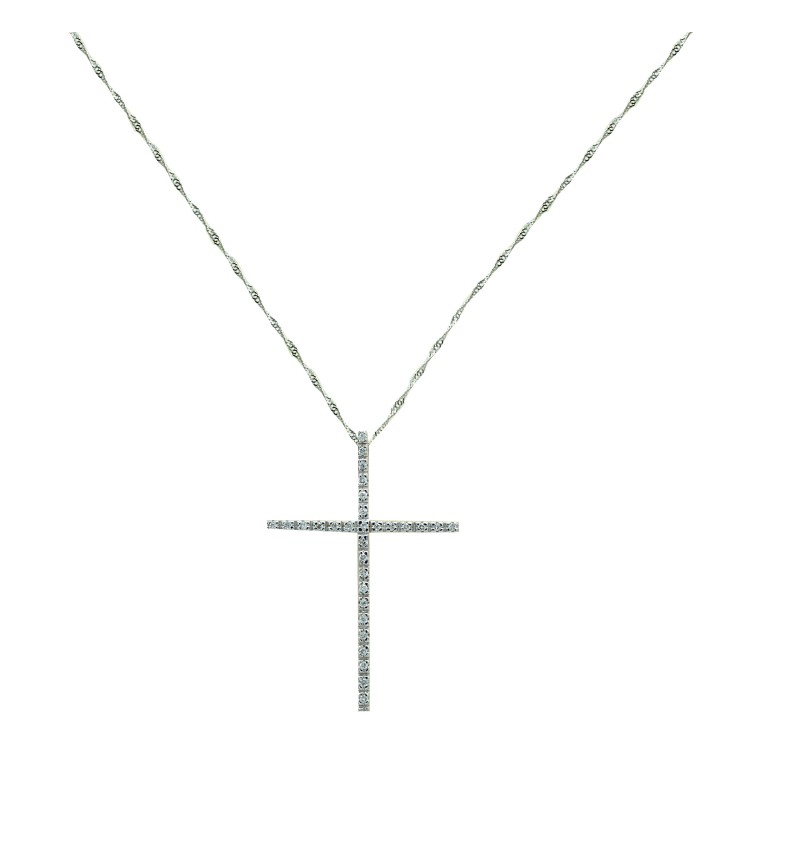 Necklace white gold cross
