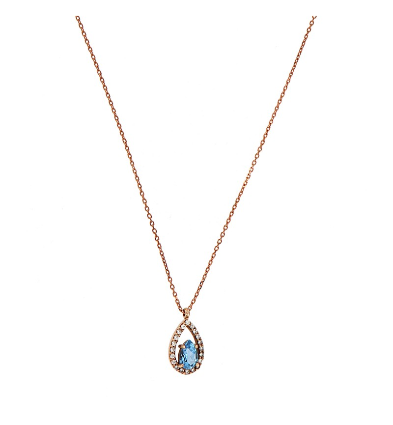ΚΟΛΙΕ ROSE GOLD BLUE TOPAZ