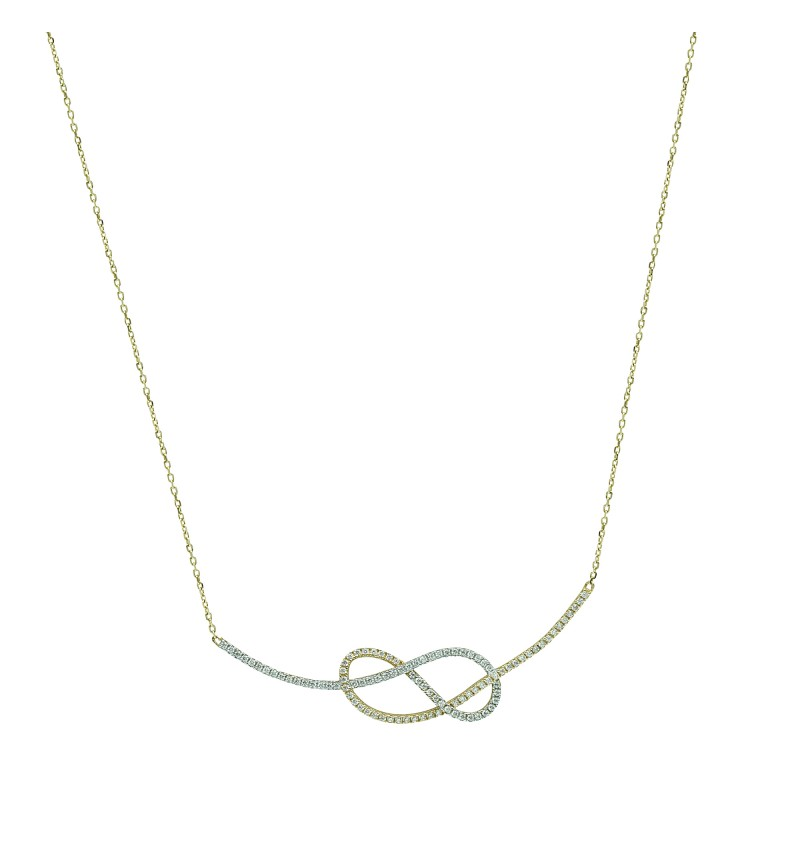 Necklace yellow and white knot