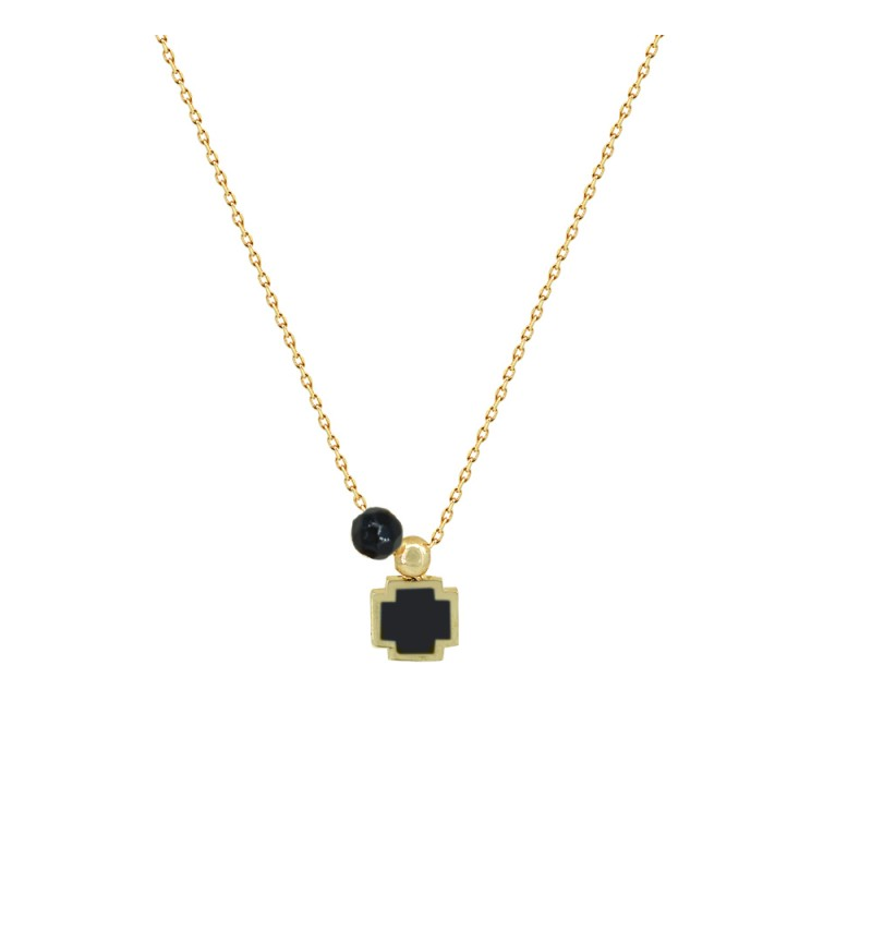 BLACK CROSS NECKLACE