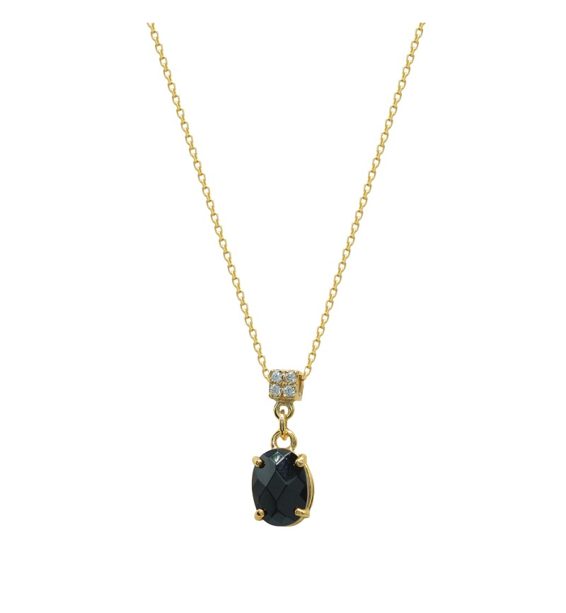 Necklace yellow gold black stone